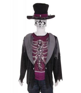 Costum Halloween Barbati Schelet cu Smoking