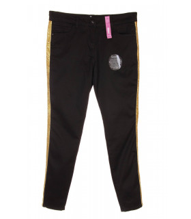 Pantaloni Skinny cu Banda Aurie