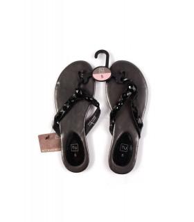 Papuci Vara Femei cu Pietricele Negre
