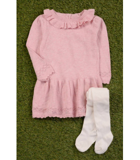 Rochie Roz si Ciorapi Tricotati
