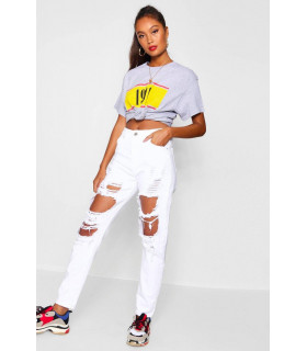 Denim Alb Mom Jeans