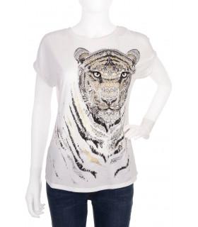 Tricou Alb cu Imprimeu Tigru